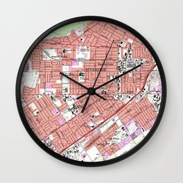 Vintage Map of Riverside California (1967) Wall Clock