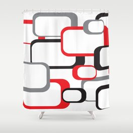 Red Black Gray Retro Square Pattern White Shower Curtain
