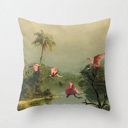 Spoonbills in the Mist Throw Pillow
