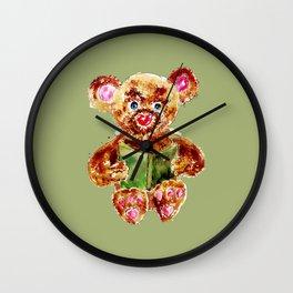Painted Teddy Bear Wall Clock