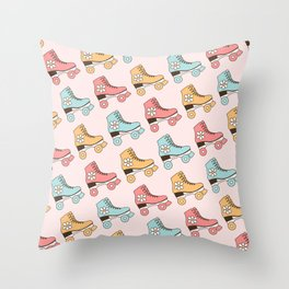 Vintage Roller Skates in Patel Mint, Blush Pink and Mustard Color, Retro Skating Shoes Pattern  Throw Pillow