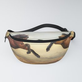 Wild Horses Animals Stallion Artistic Painting Artwork Fanny Pack