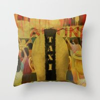 taxi driver Throw Pillows featuring Taxi Driver by David Amblard