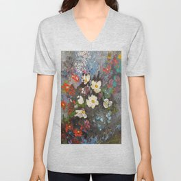 Acylic Abstract modern Flowers art by Joel Seguin Unisex V-Neck