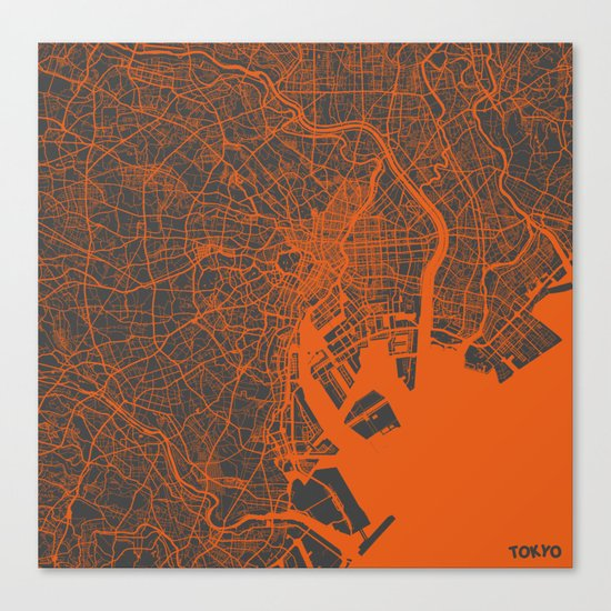 Tokyo Map #2 Canvas Print