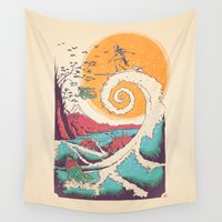 humor Wall Tapestries featuring Surf Before Christmas by Victor Vercesi