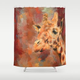 Long Necked Friend Giraffe Art Shower Curtain