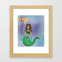 Mermaid stroll Framed Art Print