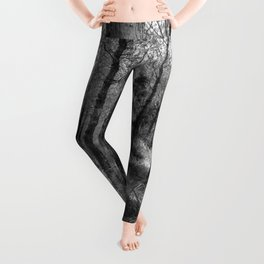 Black and white country forest Leggings