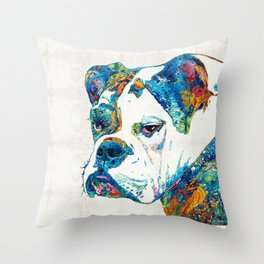 Colorful English Bulldog Art By Sharon Cummings Throw Pillow