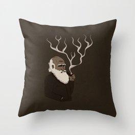 Darwin ponders evolution Throw Pillow