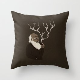 Darwin ponders evolution Throw Pillow