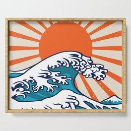 The Great Wave off Kanagawa, japanese wave poster, digital print, great wave of kanagawa, japan wave Serving Tray