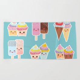 Kawaii cupcakes, ice cream in waffle cones, ice lolly Beach Towel