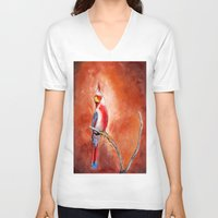cardinal V-neck T-shirts featuring cardinal by HaMaD ArT