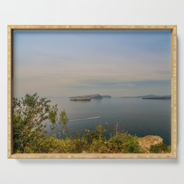 Beautiful landscape with sea view of the Nea Kameni, a small Greek island in the Aegean Sea near San Serving Tray