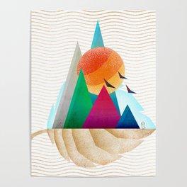 073 - Autumn leaf minimal landscape I Poster