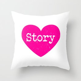 Love Story | Pink Heart Throw Pillow