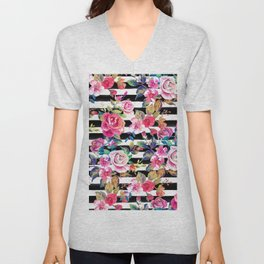 Cute spring floral and stripes watercolor pattern Unisex V-Neck
