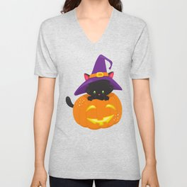 Black Cat, Pumpkin, Cat With Witch Hat, Halloween Unisex V-Neck