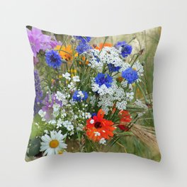 Wildflowers in a summer meadow Throw Pillow