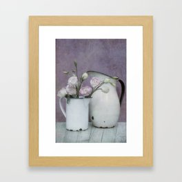 Shabby French chic-vintage metal jugs with flowers Framed Art Print