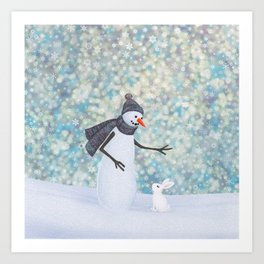 snowman and white rabbit Art Print