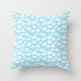 Happy Clouds - Blue and White, Sky Pattern Throw Pillow