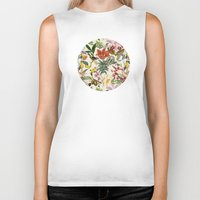botanical Biker Tanks featuring Botanical by Bambouchic