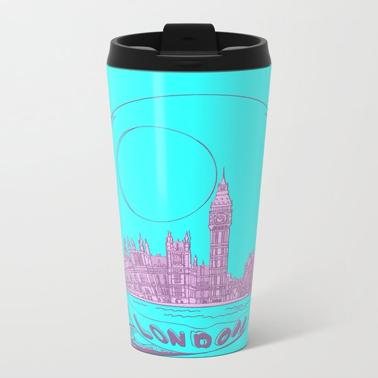 pink London Metal Travel Mug