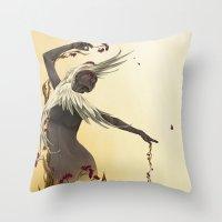 crane Throw Pillows featuring Crane  by Devon Busby Busbyart