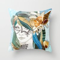 aqua Throw Pillows featuring Aqua by Jenndalyn
