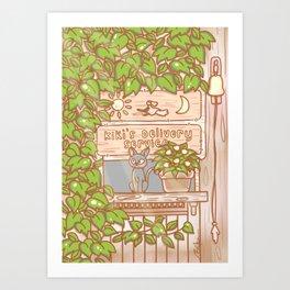 Jiji in the Window - Brown Green Art Print
