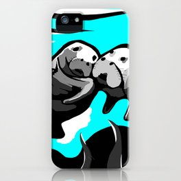 Manatee Love in blue iPhone Case