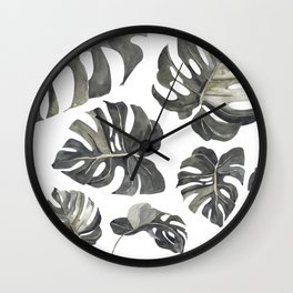 Bold Modern Monstera Leaf Pattern 1 Wall Clock