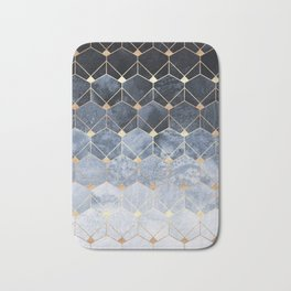 Blue Hexagons And Diamonds Bath Mat