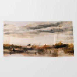 Steppe landscape Beach Towel