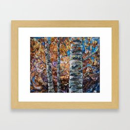 Birch Trees with Palette Knife by OLena Art for @society6 Framed Art Print
