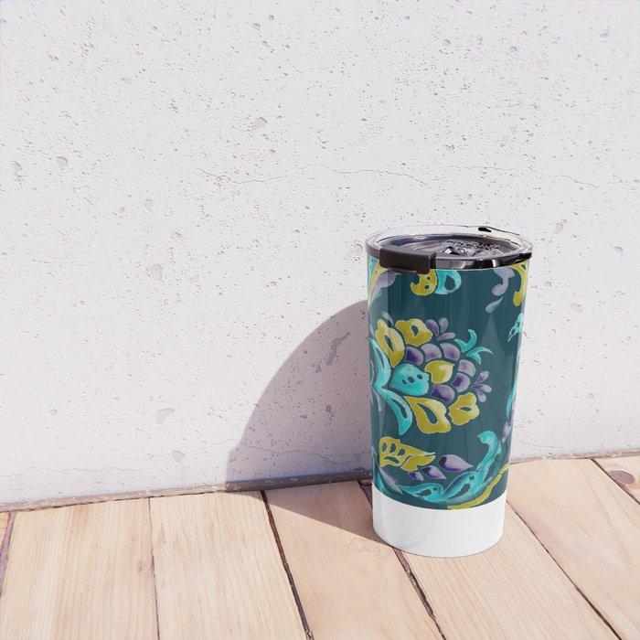 Scroll - Hand Painted Teal Ground Travel Mug