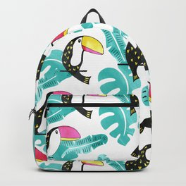 Watercolor toucan and leaves Backpack