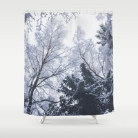 cities Shower Curtains featuring Scared cities by HappyMelvin