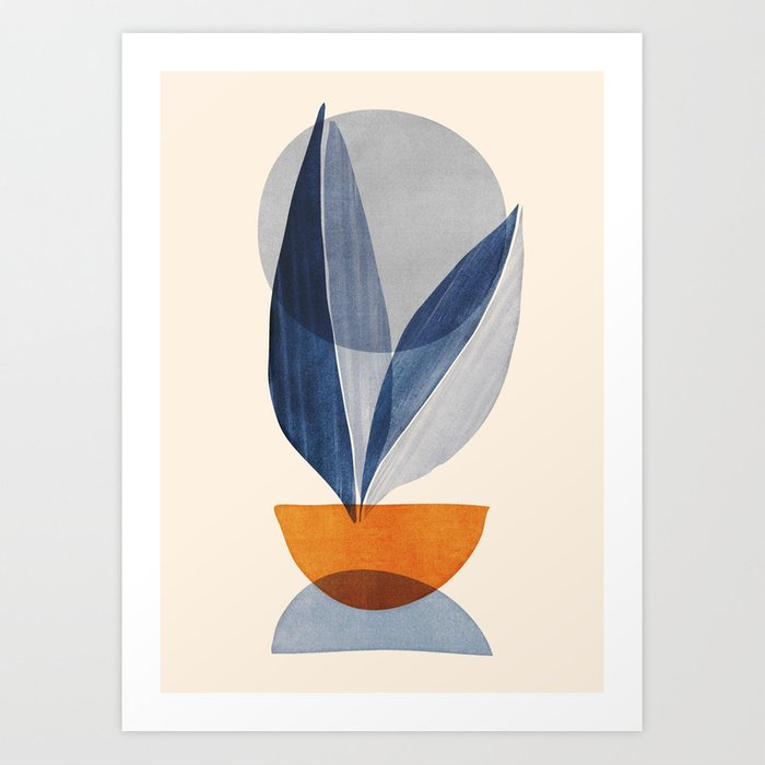 Nature Stack 04 - Abstract Shapes in Navy Blue Art Print