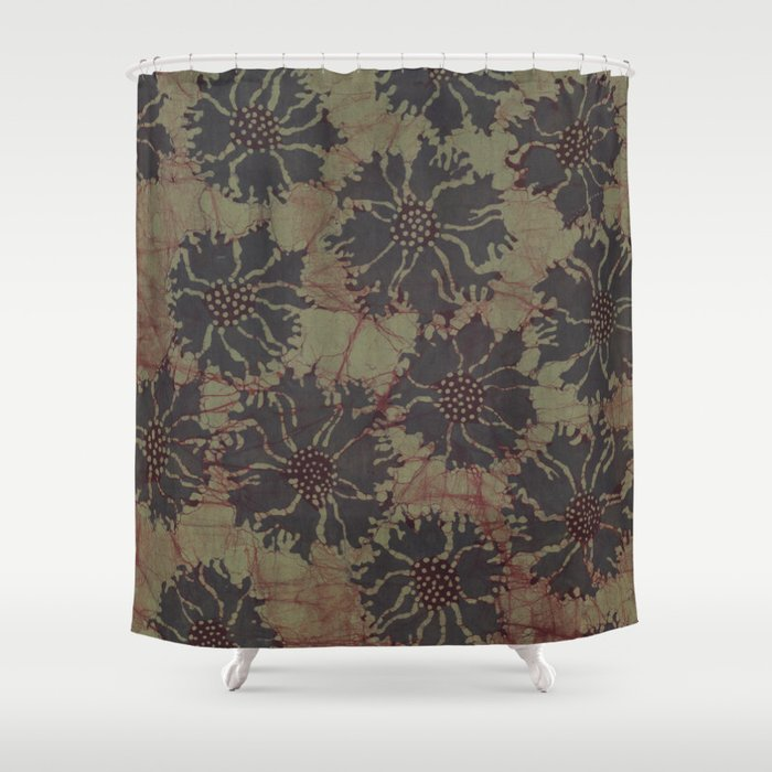 Batik Poppies Shower Curtain