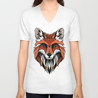 andreas preis V-neck T-shirts featuring Fox // Colored by Andreas Preis