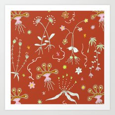 Red Flora of Planet Hinterland Art Print