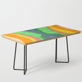 Shapes and Layers no.25 - Abstract painting Blue, Green, pink, yellow orange Coffee Table