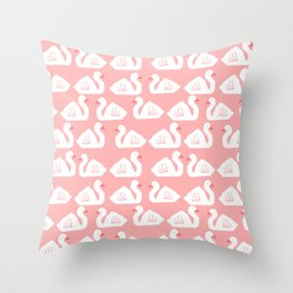 Swan minimal pattern print pink and white bird illustration swans nursery decor Throw Pillow