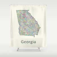 georgia Shower Curtains featuring Georgia map by David Zydd