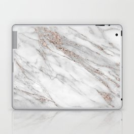 Pink Rose Gold Blush Metallic Glitter Foil on Grey Marble Laptop & iPad Skin