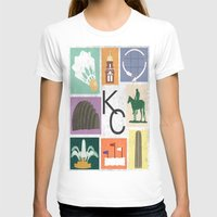 kansas city T-shirts featuring Kansas City Landmark Print by Jenna Davis Designs